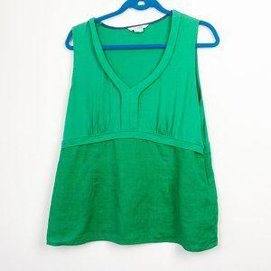 BODEN Green Linen Blend Sleeveless Blouse Size 12
